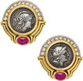 Estate Jewelry:Earrings, Ancient Coin, Diamond, Ruby, Gold Earrings, Bvlgari. ...