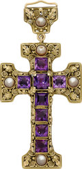 Estate Jewelry:Pendants and Lockets, Arts & Crafts Amethyst, Pearl, Gold Pendant, Edward Oakes. ...