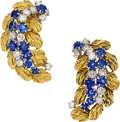 Estate Jewelry:Earrings, Sapphire, Diamond, Platinum, Gold Earrings, Jacques Timey for HarryWinston. ...