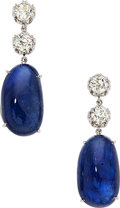 Estate Jewelry:Earrings, Burma Sapphire, Diamond, Platinum Earrings. ...