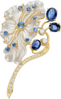 Estate Jewelry:Brooches - Pins, Sapphire, Diamond, Mother-of-Pearl, Gold Brooch, Seaman Schepps. ...