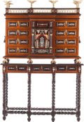 Furniture : Continental, A Spanish Renaissance-Style Gilt Bronze-Mounted Hardwood VarguenoDesk, 20th century. 73 h x 49-1/2 w x 17 d inches (185.4 x...(Total: 2 Items)