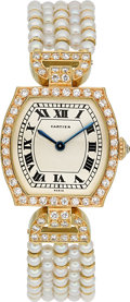 Estate Jewelry:Watches, Cartier Lady's Diamond, Cultured Pearl, Gold Watch, French. ...