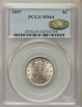 Liberty Nickels: , 1897 5C MS64 PCGS. Gold CAC. PCGS Population: (231/96). NGC Census: (157/66). CDN: $200 Whsle. Bid for problem-free NGC/PCG...