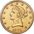 Liberty Eagles, 1860-S $10 -- Cleaning -- PCGS Genuine. AU Details....