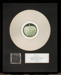 Music Memorabilia:Awards, Beatles Hey Jude Capitol Records In-House Platinum AlbumAward Presented to the Artist (Apple/Capitol SW-385, 1970...