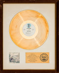 Music Memorabilia:Awards, Joni Mitchell For the Roses RIAA White Mat Gold Record SalesAward (Asylum SD 5057, 1972)....