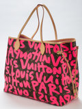 LuxuryAccessory:Bags, Stephen Sprouse (1953-2004). Louis Vuitton Limited Edition Pink Monogram Graffiti Canvas Neverfull GM Bag, 2009. Coated ...