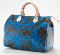 Yayoi Kusama (b. 1929) Louis Vuitton Limited Edition Blue Dot Monogram Canvas Infinity Dots Speedy 30 Bag</