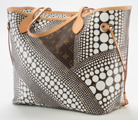 Yayoi Kusama (b. 1929) Louis Vuitton Limited Edition White Infinity Dots Monogram Canvas Neverfull MM Bag</