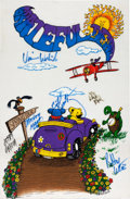 Music Memorabilia:Posters, Grateful Dead Signed Fabric Art Print (1992)....