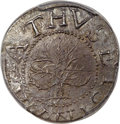 Colonials, 1652 SHILNG Oak Tree Shilling, IN at Bottom -- Damage -- PCGS Genuine. AU Details. Noe-5, W-470,...