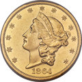 Liberty Double Eagles, 1864 $20 -- Cleaning -- PCGS Genuine. AU Details....