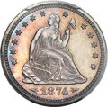 Proof Seated Quarters, 1874 25C Arrows PR65 PCGS. Briggs 5-D....