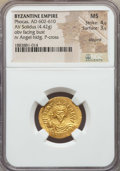 Ancients:Byzantine, Ancients: Phocas (AD 602-610). AV solidus (4.42 gm). NGC MS 4/5 -3/5, clipped....