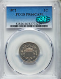 Proof Shield Nickels, 1872 5C PR66 Cameo PCGS. CAC....