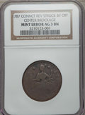 Errors, 1787 Connecticut Copper, Draped Bust Left -- Reverse Struck By Off Center Brockage -- AG3 NGC....