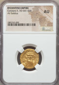 Ancients:Byzantine, Ancients: Constans II (AD 641-668). AV solidus. NGC AU....