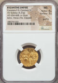 Ancients:Byzantine, Ancients: Constans II & Constantine IV (AD 654-668). AV solidus(4.37 gm). NGC MS 4/5 - 3/5, graffiti....