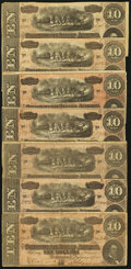 Confederate Notes:1864 Issues, T68 $10 1864 PF-20 Cr. 546 Seven Examples.. ... (Total: 7 notes)