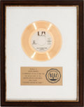"Music Memorabilia:Awards, Paul Anka ""(You're) Having My Baby"" RIAA White Mat Gold RecordSales Award (1974)...."