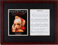 "Music Memorabilia:Autographs and Signed Items, Lady Gaga Signed ""Poker Face"" Sheet Music...."
