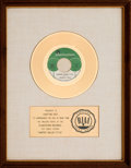 "Music Memorabilia:Awards, Jeannie C. Riley ""Harper Valley P.T.A."" RIAA White Mat Gold RecordSales Award (Plantation #3, 1968)...."