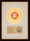 "Music Memorabilia:Awards, Paul Simon ""Loves Me Like A Rock"" RIAA White Mat Gold Record SalesAward (Columbia 4-45907, 1973). ..."