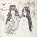 Music Memorabilia:Memorabilia, Aerosmith Signed Draw the Line LP Cover (Columbia, 1977)....