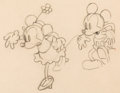 Animation Art:Production Drawing, Mickey Mouse and Minnie Mouse Animation Drawing (Walt Disney, c.early 1930s)....