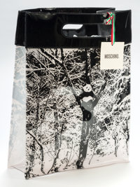 Robert Pruitt (b. 1964) Moschino Limited Edition Black & White Vinyl Shopping Tote, 2000 Vinyl 15