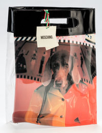William Wegman (b. 1943) Moschino Limited Edition Black & Multicolor Vinyl Tote Bag, 2000 Vinyl 1