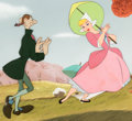 Animation Art:Production Cel, The Adventures of Ichabod and Mr. Toad Ichabod and KatrinaProduction Cel Setup and Master Painted Background (Walt Di...