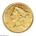 Liberty Half Eagles: , 1877 $5 AU58 PCGS. The Philadelphia Mint struck every golddenomination aside from Stellas in 1877, but only the Double Eag...