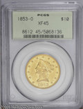 "Liberty Eagles: , 1853-O $10 XF45 PCGS. Breen-6907, ""very rare."" The 8 and 3 in thedate are nicely repunched to the west. No hollow ring ato..."