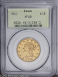 Liberty Eagles: , 1862 $10 XF40 PCGS. Only 10,995 were minted and few have sincesurvived. This date is scarce in any condition, being much m...
