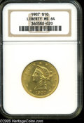 Liberty Eagles: , 1907 $10 MS64 NGC. Lustrous with rich golden color and fewappreciable surface marks. Choice quality for this popular, fina...