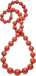Estate Jewelry:Necklaces, Coral, Diamond, Gold Necklace. ... (Total: 0 Items)