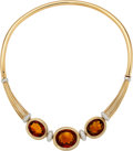 Estate Jewelry:Necklaces, Citrine, Diamond, Gold Necklace, Gübelin. ...