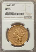 Liberty Double Eagles: , 1864-S $20 XF45 NGC. NGC Census: (212/520). PCGS Population: (168/310). Mintage 793,660. ...
