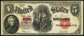 "Large Size:Legal Tender Notes, Fr. 91 $5 1907 ""PCBLIC"" Error Legal Tender Fine-Very Fine.. ..."