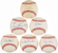 Autographs:Baseballs, Baseball Hall of Famers Single Signed Baseball Collection (6) - Including Mays, Snider, Kaline, Berra, Musial, & Slaughter. ...