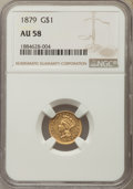 Gold Dollars: , 1879 G$1 AU58 NGC. NGC Census: (10/172). PCGS Population: (15/254). CDN: $450 Whsle. Bid for problem-free NGC/PCGS AU58. Mi...