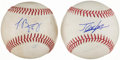 Autographs:Baseballs, Jorge Soler & Javier Baez Single Signed Baseball Lot of 2. ...