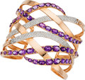 Estate Jewelry:Bracelets, Amethyst, Diamond, Rose Gold Bracelet, Piranesi. ...
