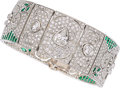 Estate Jewelry:Bracelets, Diamond, Emerald, Platinum Bracelet. ...