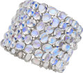 Estate Jewelry:Bracelets, Moonstone, Diamond, White Gold Bracelet, Assil. ...