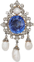 Estate Jewelry:Brooches - Pins, Ceylon Sapphire, Diamond, Pearl, Platinum-Topped GoldPendant-Brooch, circa 1910. ...
