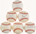 Autographs:Baseballs, Baseball Greats Single Signed Baseball Collection (6). ...