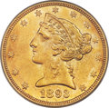 Liberty Half Eagles, 1893-CC $5 MS61 PCGS. Variety 1-A....